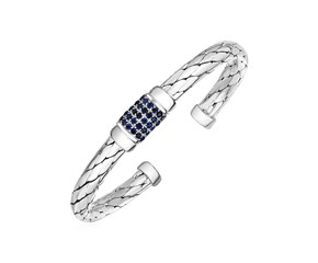 Woven Rope Cuff Bracelet with Blue Sapphire Accents in Sterling Silver