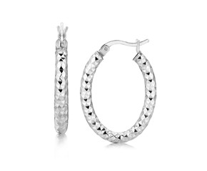 Textured Diamond Cut Thick Oval Hoop Earrings in Rhodium Plated Sterling Silver
