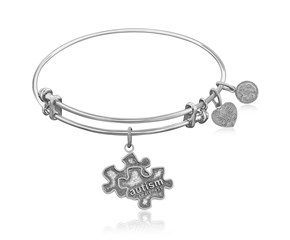 Expandable White Tone Brass Bangle with Autism Awareness Symbol