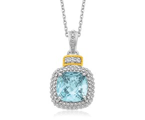Cushion Sky Blue Topaz and Diamond Accented Popcorn Cushion Pendant in 18k Yellow Gold and Sterling Silver (.02cttw)
