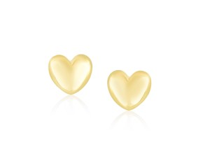 Polished Puffed Heart Earrings in 14k Yellow Gold