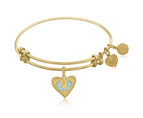 Expandable Yellow Tone Brass Bangle with Blue Enamel Baby Foot Print Symbol