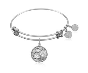 Expandable White Tone Brass Bangle with The Sea Symbol
