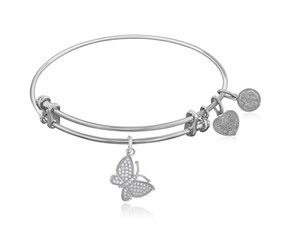 Expandable White Tone Brass Bangle with White CZ Butterfly Symbol