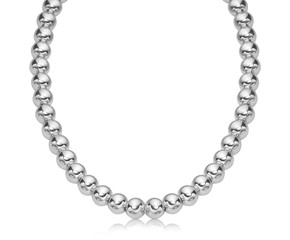 Polished Bead Style Necklace in Rhodium Plated Sterling Silver (10mm)