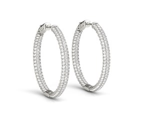 Two Row Diamond Hoop Earrings in 14k White Gold (7 cttw)
