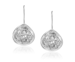 Teardrop Rutilated Quartz Earrings in Sterling Silver