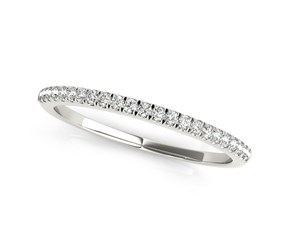 14k White Gold Classic Pave Set Diamond Wedding Band (1/8 cttw)
