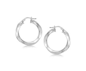 Spiral Polished Earrings in Sterling Silver