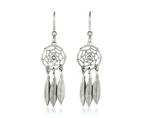 Sterling Silver Dream Catcher Dangle Earrings