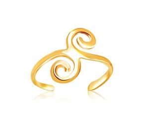 Fancy Flourish Motif Toe Ring in 14K Yellow Gold