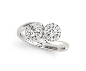 Two Stone Halo Diamond Ring in 14k White Gold (3/8 cttw)