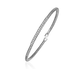 14K White Gold and Diamond 3mm Flexible Bangle Bracelet