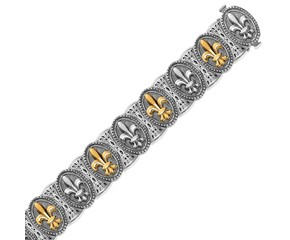 Fancy Oval Framed Fleur De Lis Bracelet in 18k Yellow Gold and Sterling Silver
