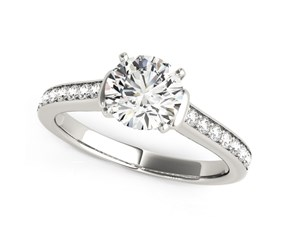 14k White Gold Round Diamond Engagement Ring with Single Row Band Stones (1 1/8 cttw)