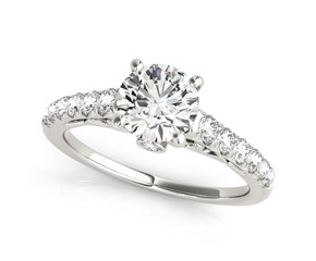14k White Gold Scalloped Single Row Band Round Diamond Engagement Ring (1 3/8 cttw)
