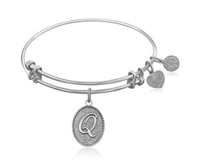 Expandable White Tone Brass Bangle with Initial Q Symbol