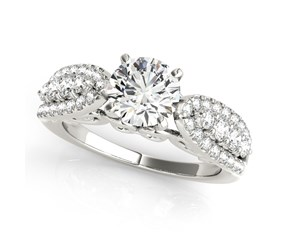 14k White Gold Multirow Shank Round Diamond Engagement Ring (1 1/2 cttw)
