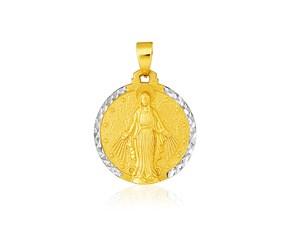 14k Two Tone Gold Round Religious Medal Pendant