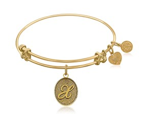 Expandable Yellow Tone Brass Bangle with Initial X Symbol