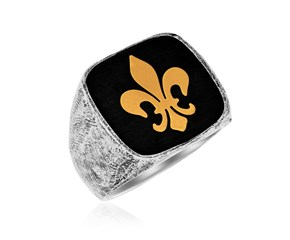 Fleur De Lis Style Men's Ring in 18k Yellow Gold and Sterling Silver