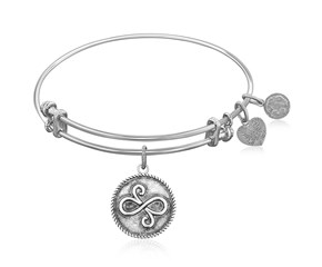 Expandable White Tone Brass Bangle with Best Friends Closeness Symbol