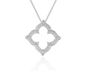 Floral Cut-out Diamond Pendant in 14k White Gold (1/3 cttw)