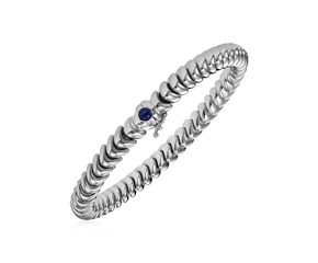 14k White Gold 7 1/2 inch Dragon Link Bracelet with Blue Sapphire