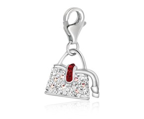 Crystal Embellished Handbag Charm in Sterling Silver