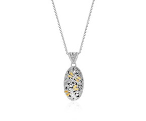 Diamond and Dragonfly Oval Pendant in 18k Yellow Gold & Sterling Silver (.42ct)