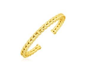 14K Yellow Gold Franco Chain Cuff Bangle