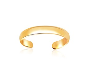 Polished Simple Toe Ring in 14k Yellow Gold