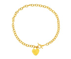 Toggle Heart Necklace in 14k Yellow Gold