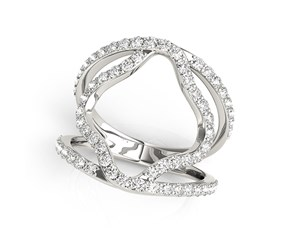 Dual Band Floral Motif Diamond Embellished Ring in 14k White Gold (5/8 cttw)