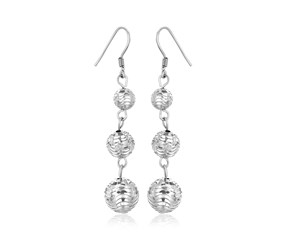 Graduated Textured Ball Dangling Earrings in Sterling Silver