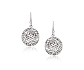 Mesh Texture Ball Drop Earrings in Sterling Silver