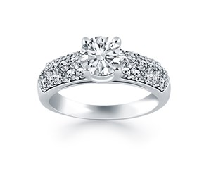 Tapered Pave Diamond Wide Band Engagement Ring Mounting in 14K White Gold