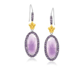 Fancy Oval Amethyst Fleur De Lis Drop Earrings in 18k Yellow Gold and Sterling Silver