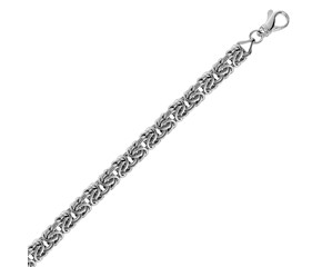 Classic Byzantine Style Chain Bracelet in Rhodium Plated Sterling Silver