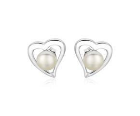 Sterling Silver Open Heart Earrings with Freshwater Pearls