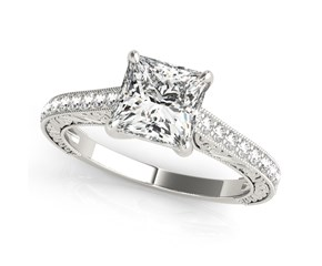 14k White Gold Princess Cut Single Row Band Diamond Engagement Ring (1 1/4 cttw)