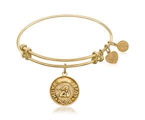 Expandable Yellow Tone Brass Bangle with Angel Symbol