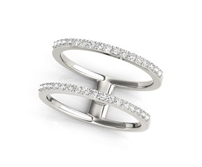 Diamond Embellished Dual Band Ring in 14k White Gold (1/3 cttw)