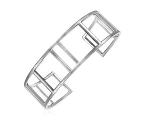 Textured Open Square Motif Cuff Bangle in Sterling Silver