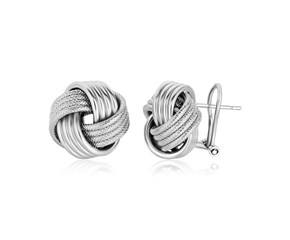 Polished Ridge Texture Love Knot Earrings in Sterling Silver