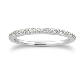 Fancy Pave Diamond Wedding Ring Band in 14k White Gold