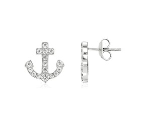 Sterling Silver Anchor Earrings with Cubic Zirconias