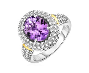 Ring with Oval Amethyst in 18k Yellow Gold & Sterling Silver