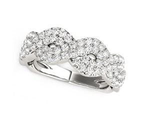 Diamond Studded Interlocking Waves Ring in 14K White Gold (5/8 ct. tw.)
