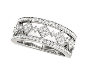 Diamond Studded Square Motif Ring in 14k White Gold (1/2 cttw)
